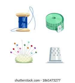 Sewing tools. Thread bobbin with needle, tape-measure, pillow and thimble for needlework. Equipment for fancywork. Isolated white background. Set. 3D illustration.