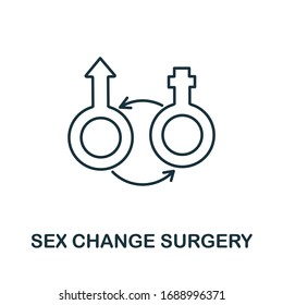 Sex Change Surgery icon from plastic surgery collection. Simple line element Sex Change Surgery symbol for templates, web design and infographics