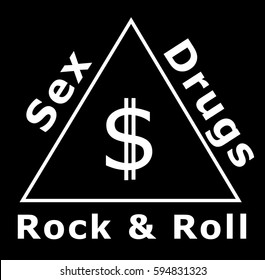 Sex, drugs, rock & roll and money, symbol of the system
