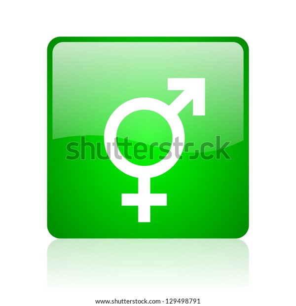 sex green square web icon on white background