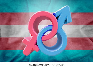 Sex Symbol in colors of mars and venus on blue and pink transegender background. Idea and leadership concep. 3d illustration.