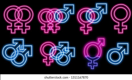Sex symbols in neon style.