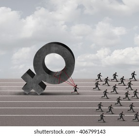 Sexism descrimination concept as a struggling woman with the burden of pulling a heavy female 3D illustration symbol falling behind a group of running businessmen or men as an unfair gender bias.