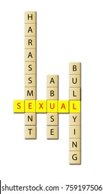 Sexual harassment abuse and bullying concept- arranged in a wooden tile illustration.