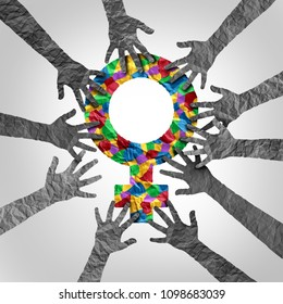Sexual harassment and assault movement awareness involving women abuse and violence as hands with a female symbol in crumpled paper as a 3D illustration.
