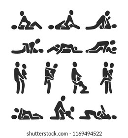 Sexual position icons. Sex positioning between man and woman couple pictograms. Position sexy couple love man and woman, sex partner illustration