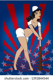 Sexy American baseball pin up with blue outfit baseball bat and a red and blue American background with stars at the bottom