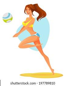 sexy cartoon girl playing beach volleyball
