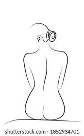 Sexy Curvy Woman Body Sitting, Back Woman Body, Spa Illustration, Beauty Spa Line Drawing, Beauty Art, Aesthetic Slimming Beauty Concept, Bathroom Art, Romantic Line Art