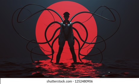 Sexy Demon Woman in a Black Leotard with Boots and Cap with Tactile Tentacles in a Foggy Void with a Red Sphere and Water 3d Illustration 3d render