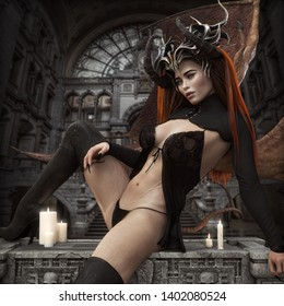 A sexy red headed female succubus with horns, wings and barbed tail .Master of seduction wearing lingerie and boots waiting to enter your dreams.3d rendering
