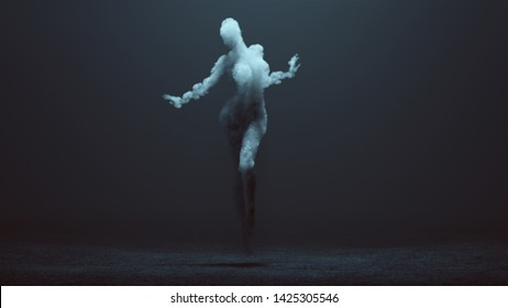Sexy Smoke Ghost Spirit Dancer Floating in a Foggy Void 3d Illustration 3d Rendering