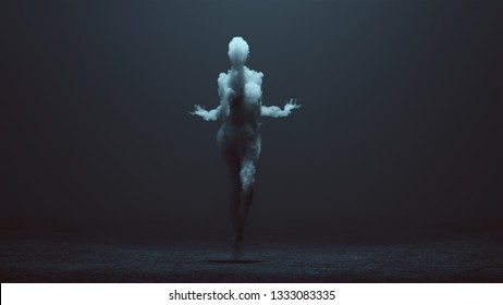 Sexy Smoke Spirit in a foggy void 3d Illustration 3d Rendering
