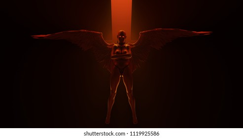 Sexy Thick Legged Winged Devil Woman in bondage floating in a fiery inferno 3d illustration