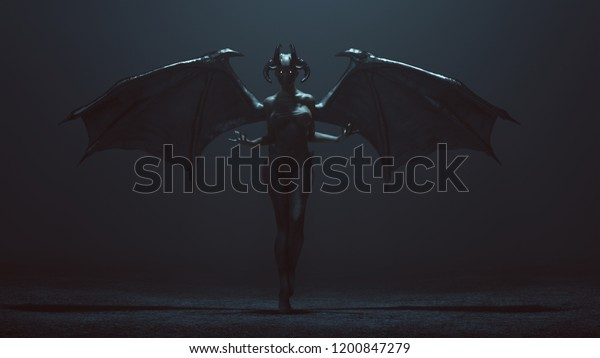 Sexy Winged Devil Woman Foggy Void Stock Illustration 1200847279
