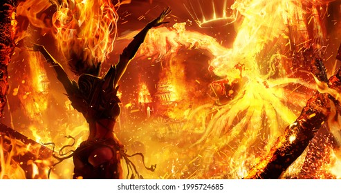 A sexy witch with a stunning figure summons a royal phoenix in the middle of a medieval city, burning it to the ground with a raging fire element, her hair burning along with wooden buildings. 2d