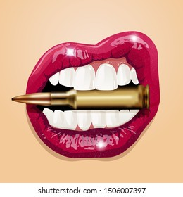 Sexy woman pink lips bite a bullet. Illustration