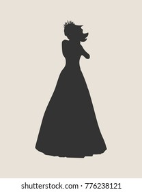 Sexy woman silhouette in blue evening dress. Medieval queen or princess monochrome silhouette
