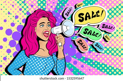 Sexy young woman with open mouth and megaphone screaming announcement. Advertising Pop Art poster or party invitation with club girl in comic style. Illustration. Face close-up.