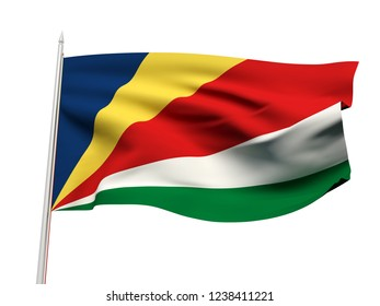 Seychelles flag floating in the wind with a White sky background. 3D illustration.