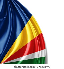 Seychelles flag of silk with copyspace for your text or images and white background