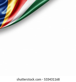 Seychelles flag of silk with copyspace for your text or images and white background -3D illustration