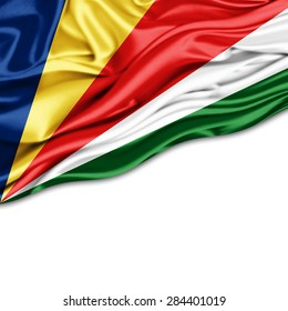 Seychelles flag of silk and white background