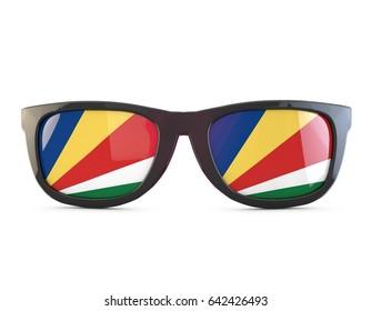 Seychelles flag sunglasses. 3D Rendering