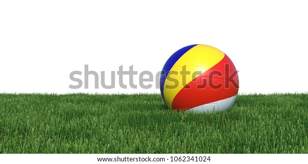 Seychelles Seychellois flag soccer ball lying in grass, isolated on white background. 3D Rendering, Illustration.