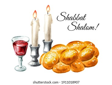 Shabbat Shalom card, Traditional jewish celebration oh the Shabbat, challah, candles and wine. Hand drawn watercolor illustration, isolated on white background