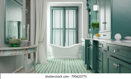 Shabby bathroom with green color and bath tub 3d rendering