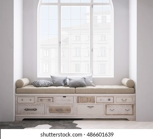 Shabby chest of drawer, 3d illustration