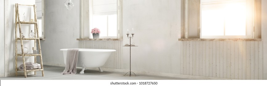 Shabby chic bathroom with sun flare and decoration 3d rendering panorama