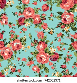 Shabby chic or granny chic vintage chintz roses in a seamlessly repeating pattern, raster version