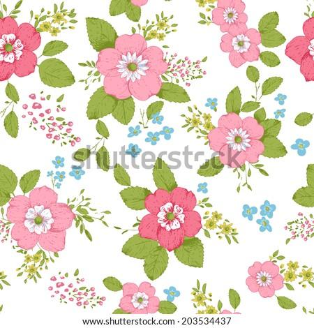 Magnificent Shabby Chic Rose Pattern Seamless Background Stock Interior Design Ideas Lukepblogthenellocom