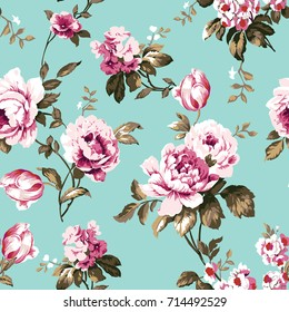 Shabby chic vintage roses, tulips and forget-me-nots vintage seamless pattern, classic chintz floral repeat background for web and print - raster version