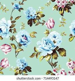 Shabby Chic Vintage Roses Tulips Forgetmenots Stock Illustration