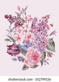 Shabby garden watercolor spring bouquet with pink flowers blooming branches of peach, pear, lilacs, tulips, scilla, roses and bee, isolated botanical illustration