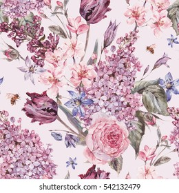 Shabby garden watercolor spring seamless background with pink flowers blooming branches of peach, pear, lilacs, tulips, scilla, roses and bee