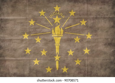 Shabby Indiana flag. Ready to use illustration.