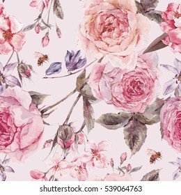 Shabby vintage garden watercolor spring seamless background with pink flowers blooming branches of cherry, peach, pear, sakura, english roses and bee, botanical illustration
