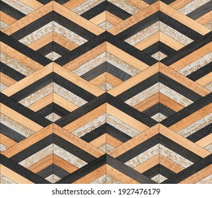 Shabby wooden wall with striped pattern made of narrow planks. Seamless wooden background.