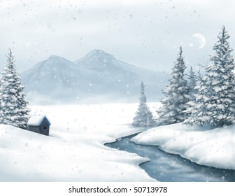 a shack in the wilderness during a snow storm, painted digitally.