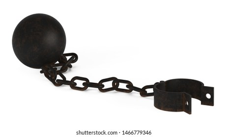 Shackles isolated on white background. 3D rendering.