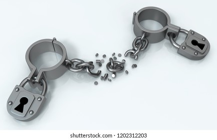 Shackles sealed broken chain, grey metal 3d illustration, isolated, horizontal, isolated