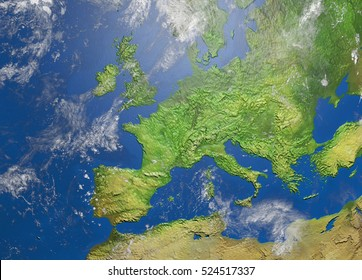 Shaded relief map of europe, 3D illustration