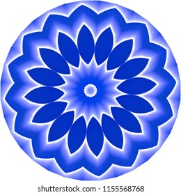 Shades of blue mandala. Decorative element, ethnic design, web design, anti-stress therapy, meditation