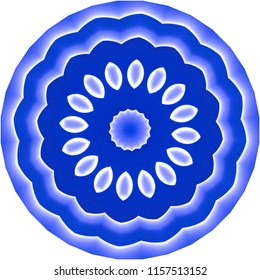 Shades of blue mandala with floral design. Decorative element, ethnic design, web design, anti-stress therapy, meditation