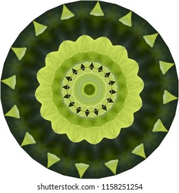 Shades of green, lime green, dark green mandala with floral pattern. Decorative element, ethnic design, web design, anti-stress therapy, meditation.