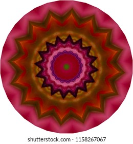 Shades of red and pink and brown mandala with floral pattern. Decorative element, ethnic design, web design, anti-stress therapy, meditation.